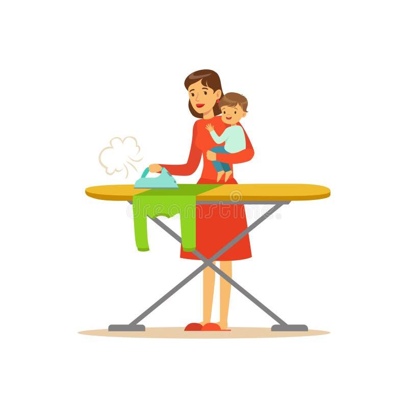 Mamá estupenda con el niño, ropa que plancha libre illustration