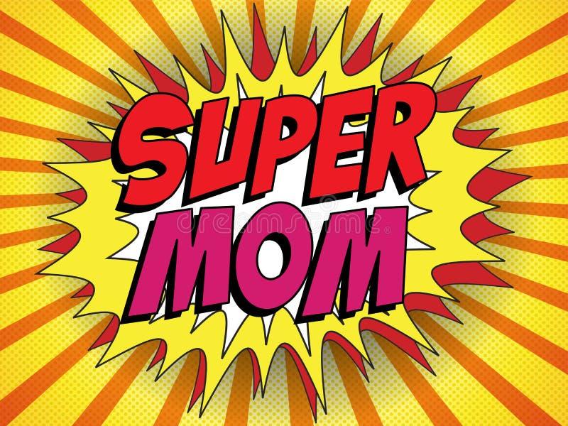 Mamá feliz del superhéroe del día de la madre stock de ilustración