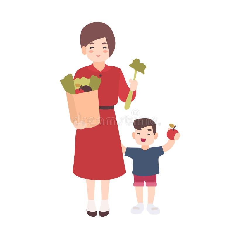 Mamá feliz y pequeño hijo que sostienen las frutas y verduras La madre sonriente y su niño llevan la comida sana Plano lindo ilustración del vector