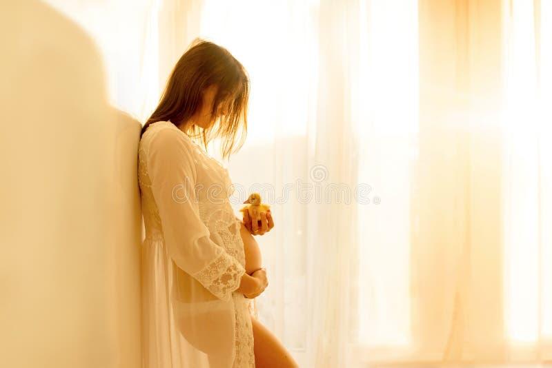 Mamá joven hermosa a ser, inclinándose en una pared, llevando a cabo poco duc foto de archivo libre de regalías