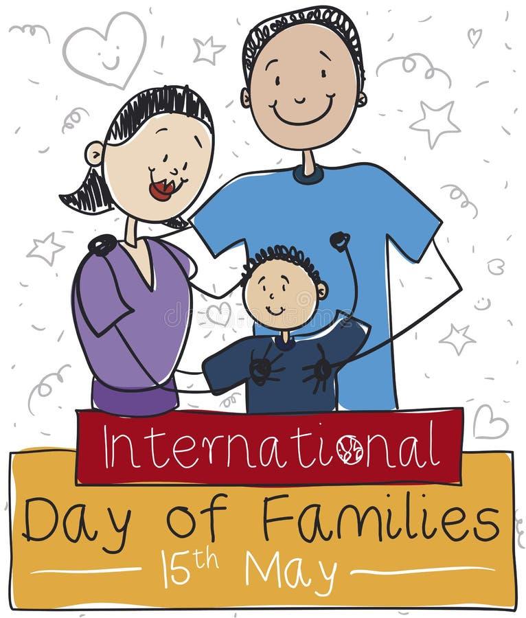 Mamá, papá, hijo y garabatos celebrando a las familias internacionales día, ejemplo del vector stock de ilustración