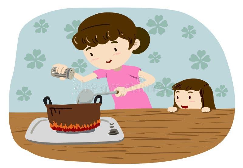 Mamá que cocina la sopa y a la hija que miran de detrás libre illustration
