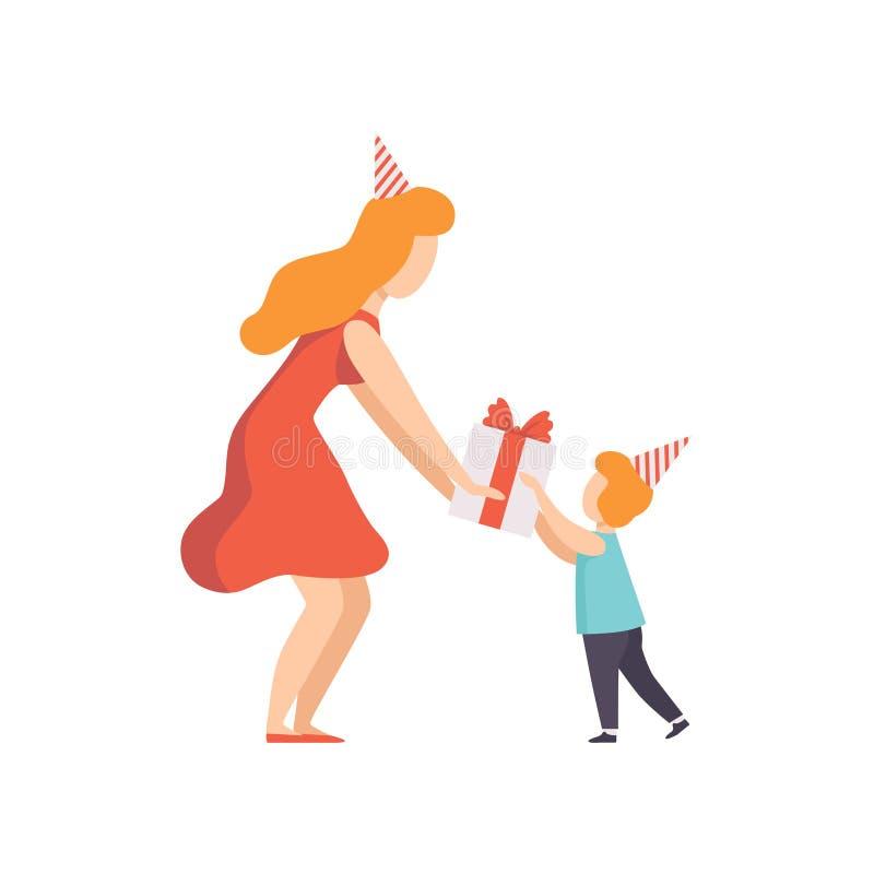 Mamá que da la caja de regalo adornada con el arco rojo a su pequeña hija, niño de la cinta que celebra el ejemplo del vector del stock de ilustración