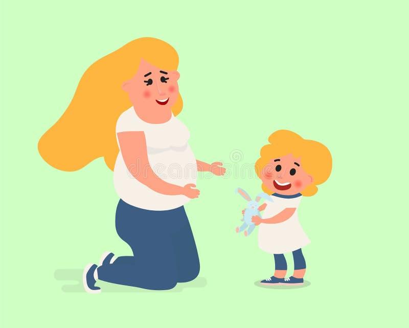 Mamá que juega con su bebé Carácter de la madre aislado Concepto del cuidado del bebé del ejemplo del vector libre illustration