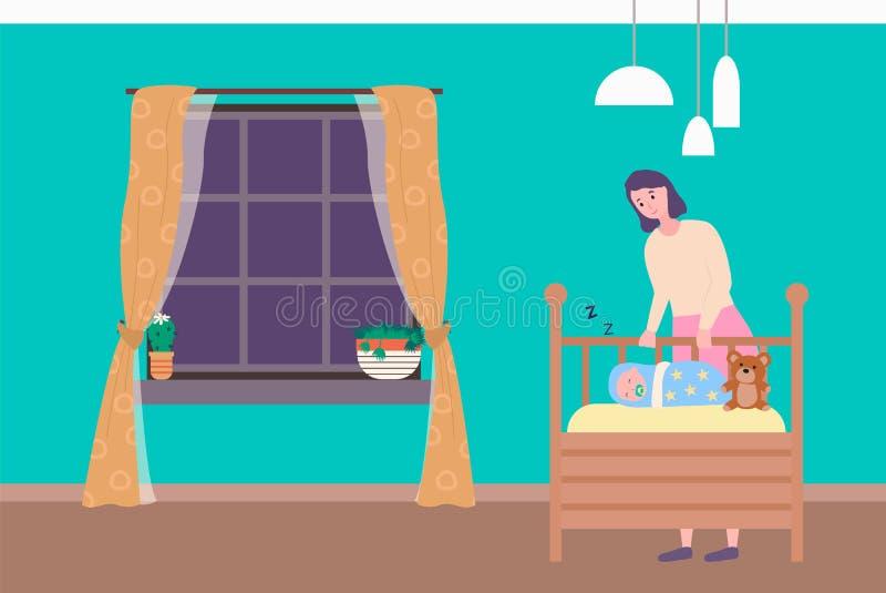 Mamá que se coloca cerca de dormir recién nacido, vector del dormitorio libre illustration