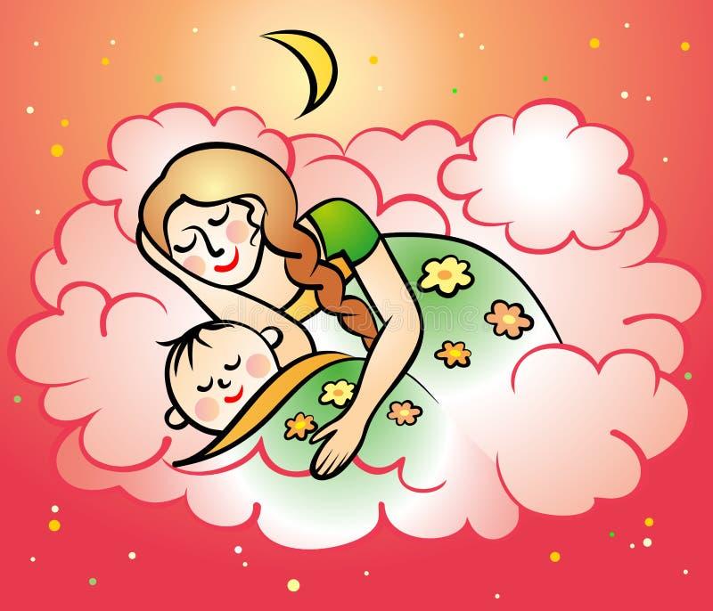 Mamá y bebé ilustración del vector