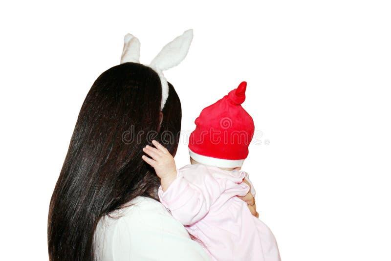 Mamá y bebé de la Navidad imagen de archivo libre de regalías
