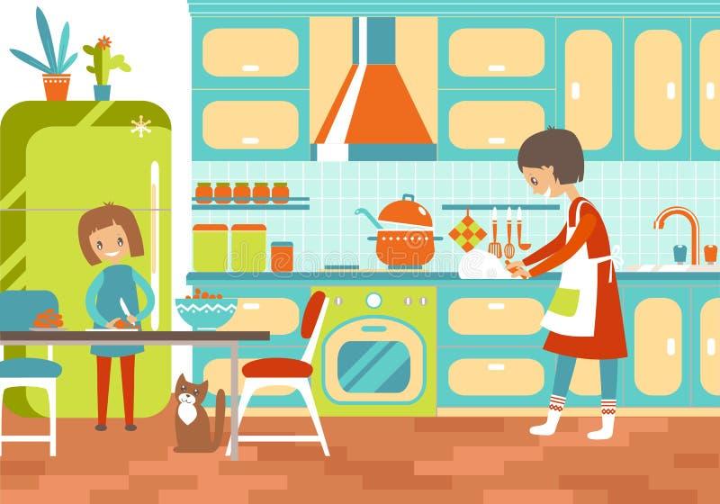 Mamá y dauhter que cocinan junto en la cocina Ayuda a domicilio, upbr foto de archivo