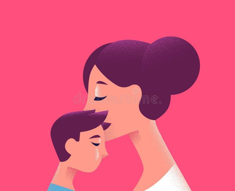 Mamá y niño que se besan para el concepto del amor de la familia ilustración del vector