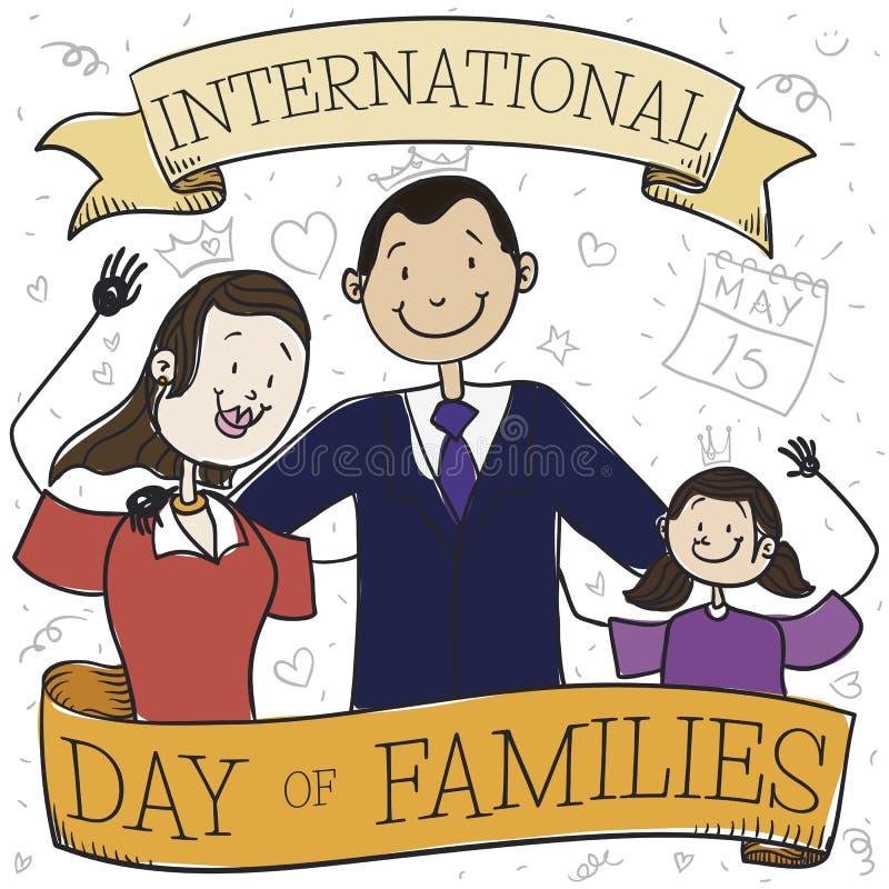 Mamá y papá felices con su hija que celebra el día de la familia, ejemplo del vector ilustración del vector