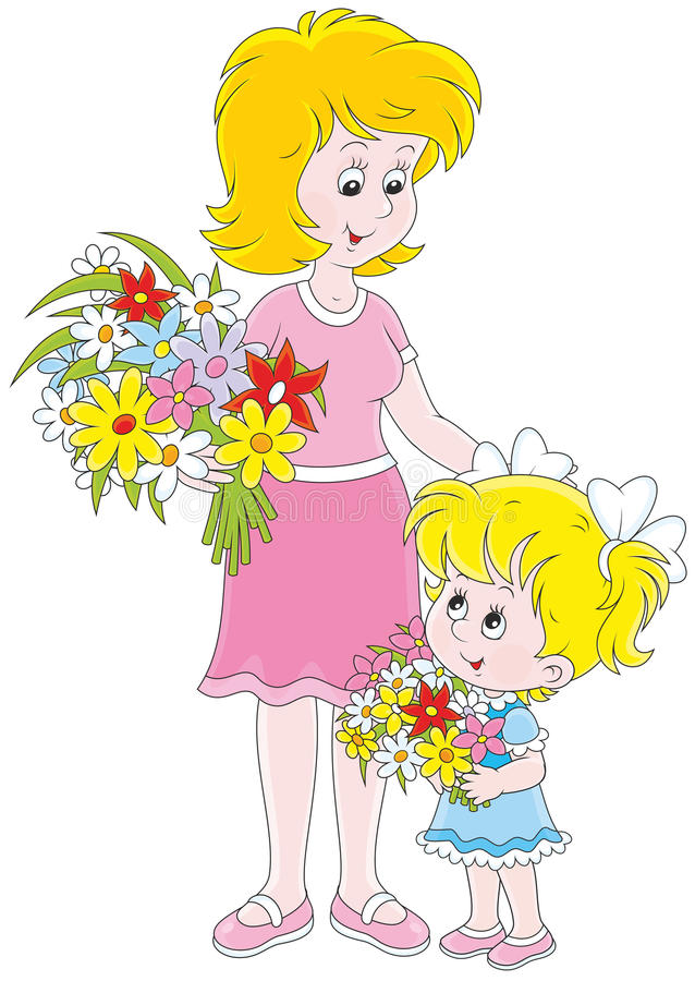 Mamá y su hija con las flores stock de ilustración