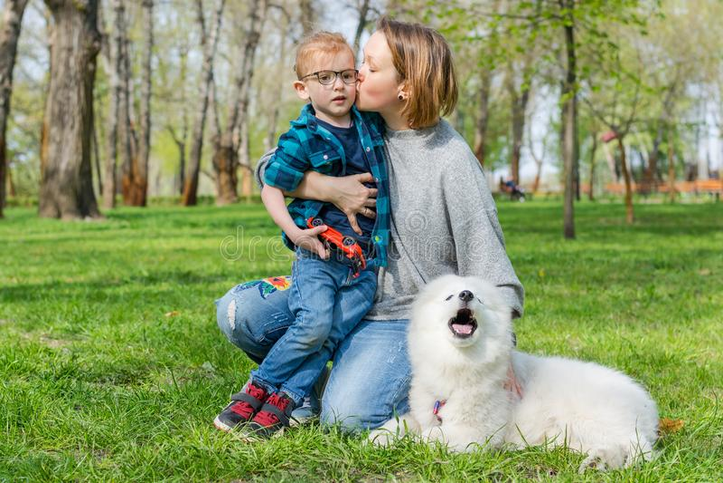 Mamá y su hijo con un perro mullido del samoyedo en un parque en primavera fotos de archivo