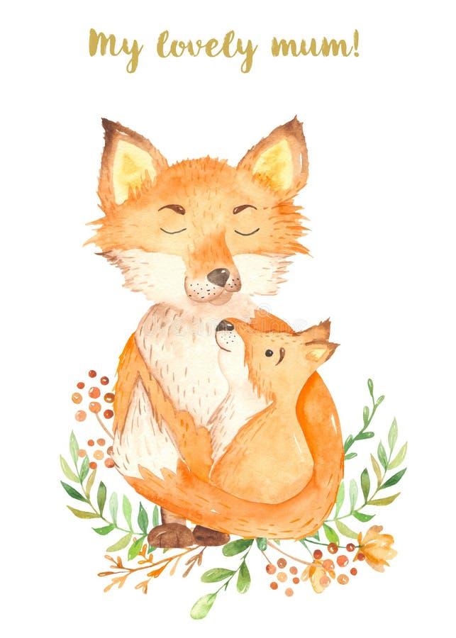 Mamã bonito e bebê da raposa dos desenhos animados da aquarela imagem de stock