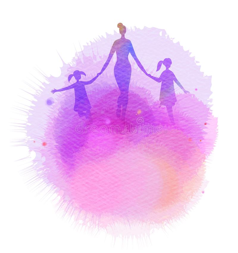 Mamã com as crianças que correm a silhueta mais o painte abstrato da aquarela ilustração do vetor