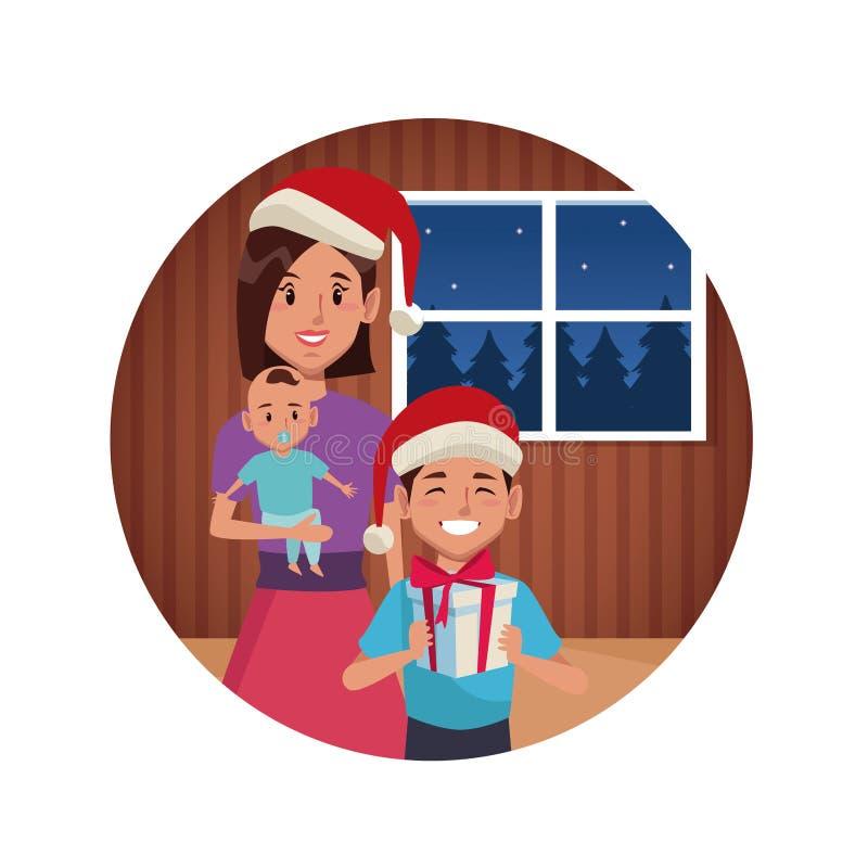 Mamã com os filhos em desenhos animados do Natal ilustração royalty free