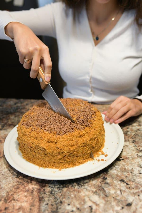 A mamã corta e serve uma parte de bolo recentemente cozido, que apenas faça em casa A menina cozeu um bolo e corta-o foto de stock