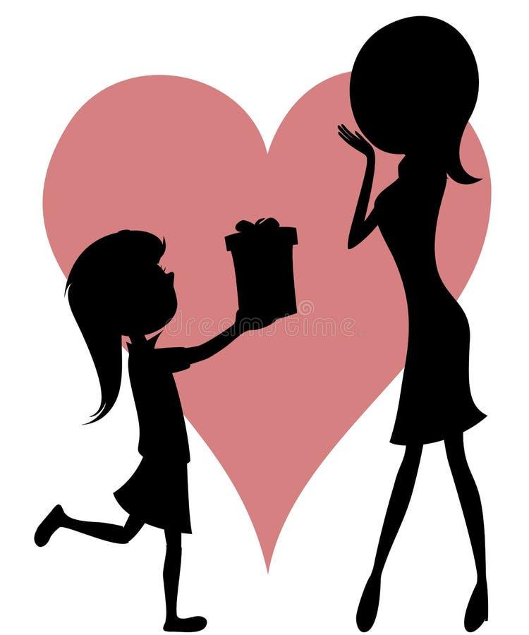Mamã da surpresa (giftbox de uma filha com silhuetas)! ilustração royalty free