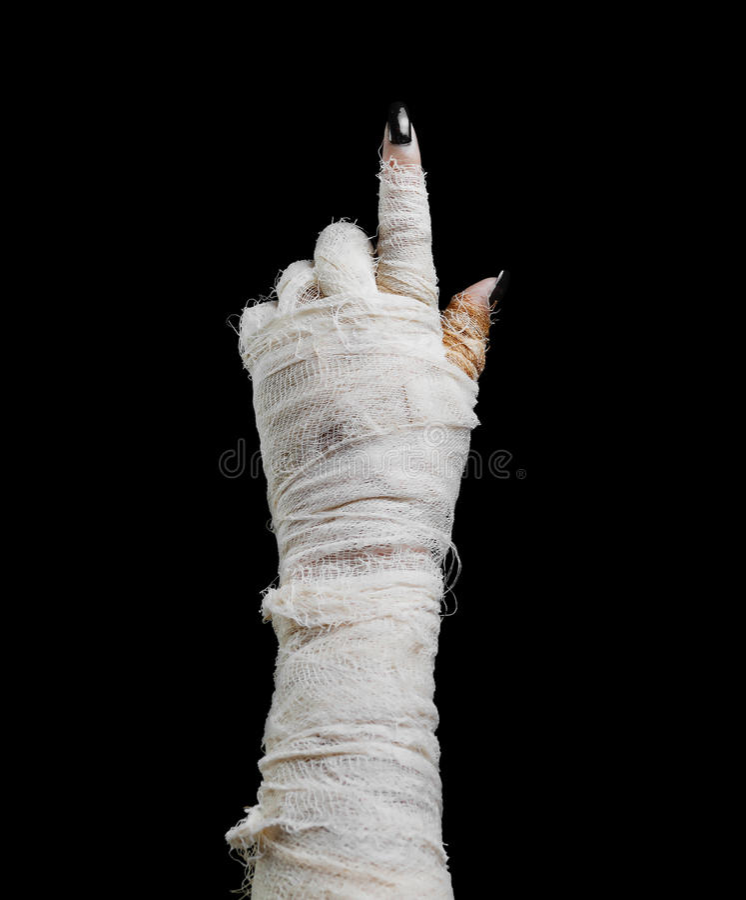A mamã de Dia das Bruxas aponta o dedo fotografia de stock