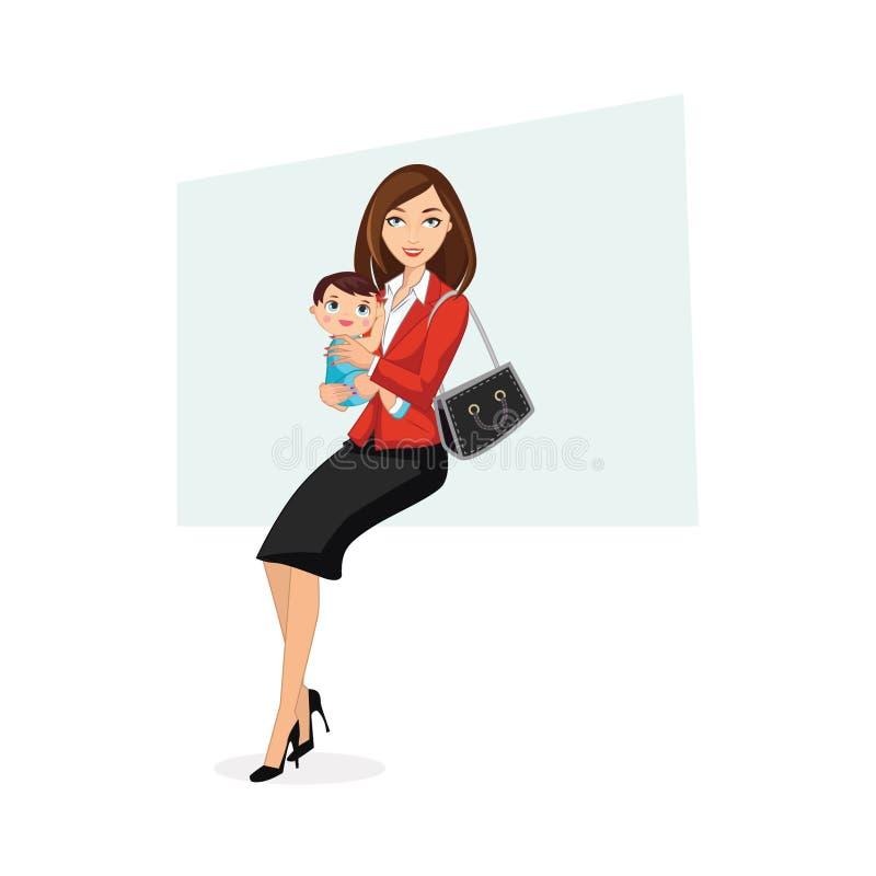 Mamã de funcionamento feliz que guarda o bebê ilustração stock