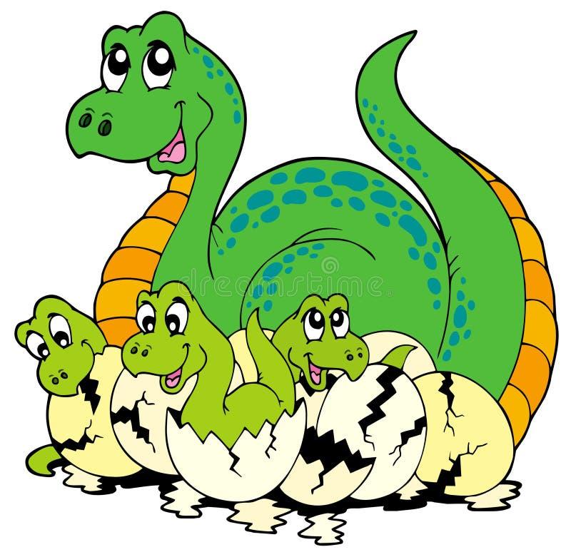 Mamã do dinossauro com bebês bonitos ilustração royalty free