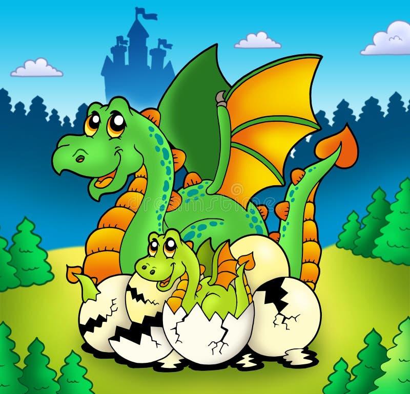 Mamã do dragão com o bebê na floresta ilustração stock