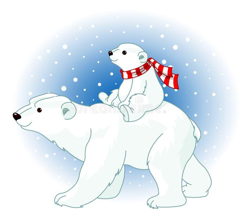 Mamã e bebê do urso polar ilustração stock