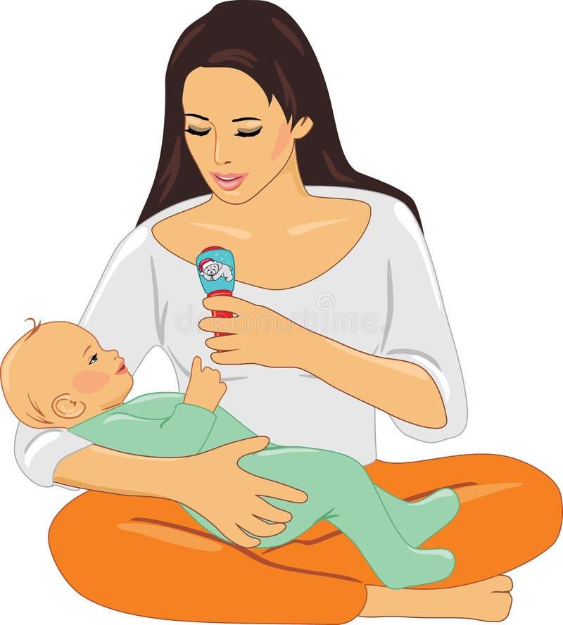 Mamã e bebê que jogam com chocalho ilustração stock