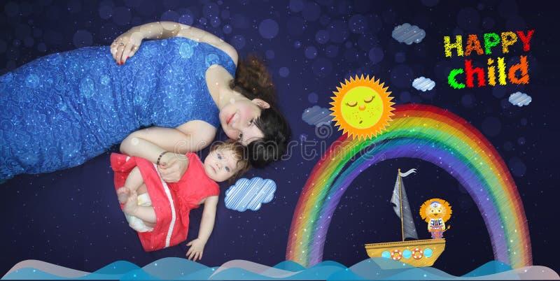 Mamã e bebê Uma música loving antes ilustração stock