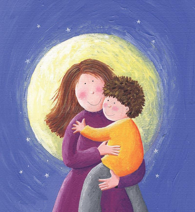Mamã e criança ilustração do vetor