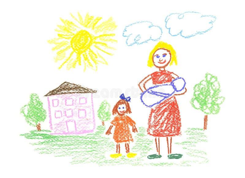 Mamã e crianças ilustração stock