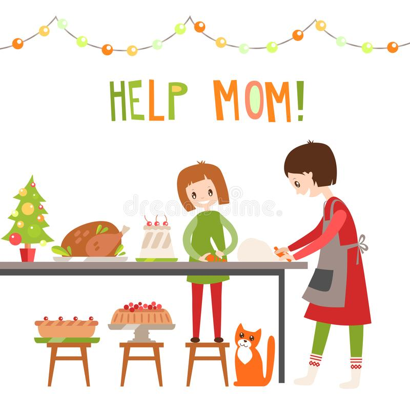 Mamã e dauhter que cozinham junto no deleite do Natal da cozinha ilustração do vetor