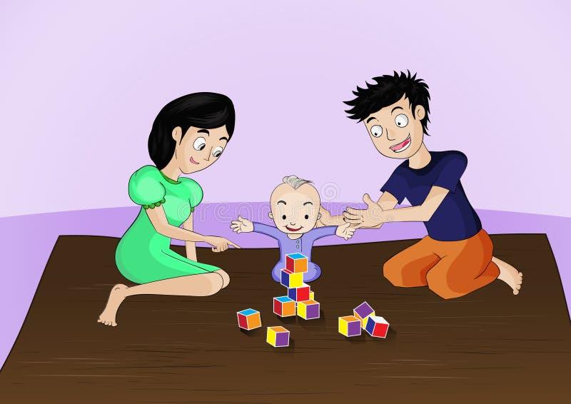 A mamã e o paizinho jogam com eles criança, ele são tempo feliz ilustração do vetor
