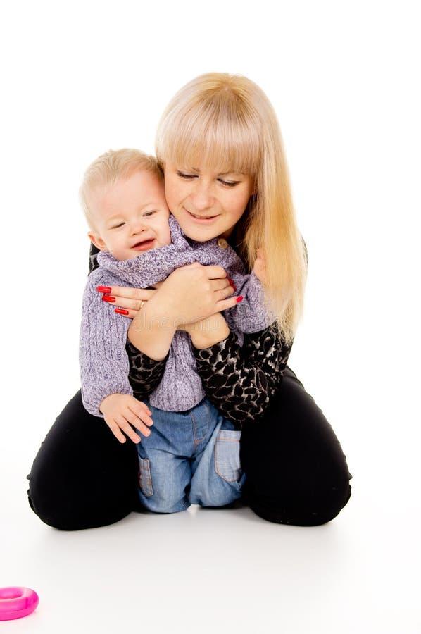 Mamã e rapaz pequeno fotografia de stock