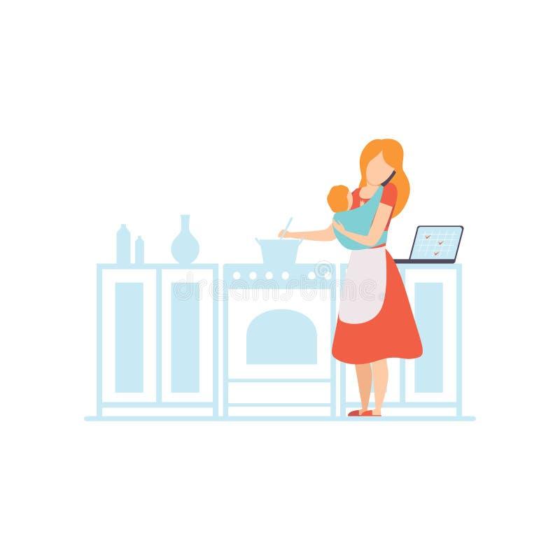 Mamã nova com o bebê no estilingue que cozinha na cozinha e ao trabalhar com portátil, Freelancer, funcionamento do pai com crian ilustração do vetor