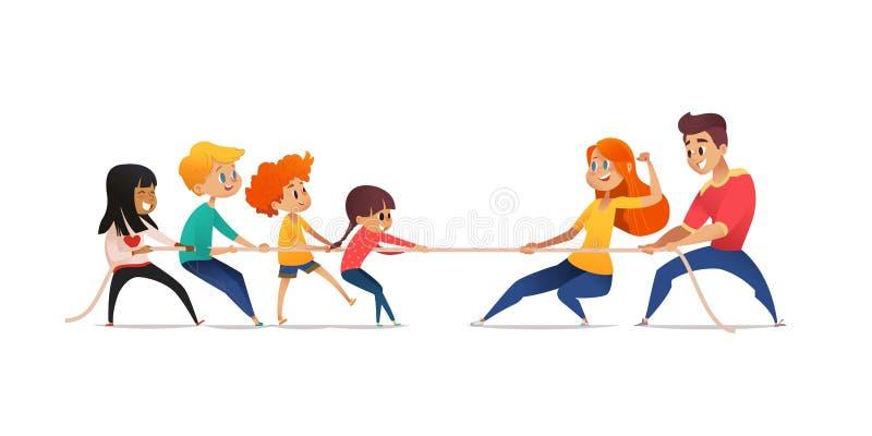Mamã, paizinho e crianças puxando extremos opostos da corda Competição do conflito entre pais e suas crianças Conceito de ilustração do vetor