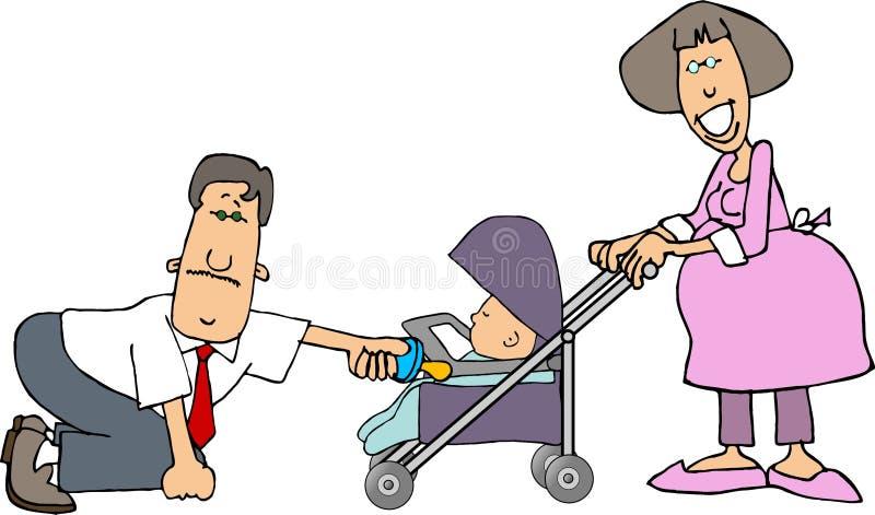 Mamã, paizinho e um bebê em um carrinho de criança ilustração stock