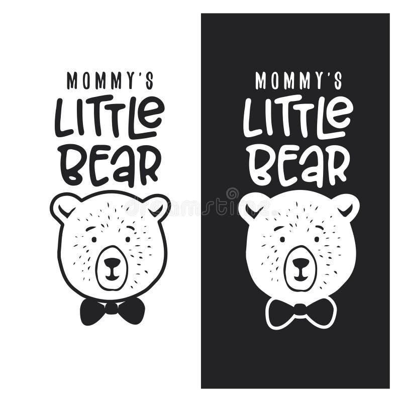 Mamã pouco projeto da roupa da criança do urso Ilustração do vintage do vetor ilustração do vetor
