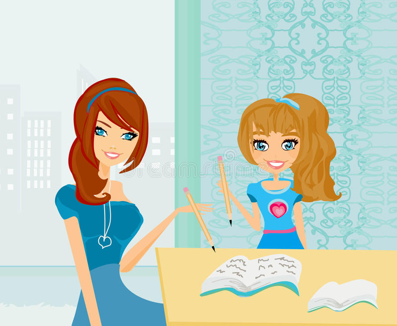 Mamã que ajuda sua filha com trabalhos de casa ilustração do vetor