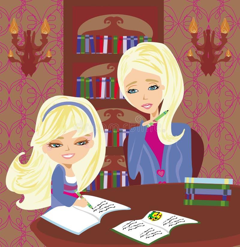 Mamã que ajuda sua filha com trabalhos de casa ou schoolwork em casa ilustração do vetor