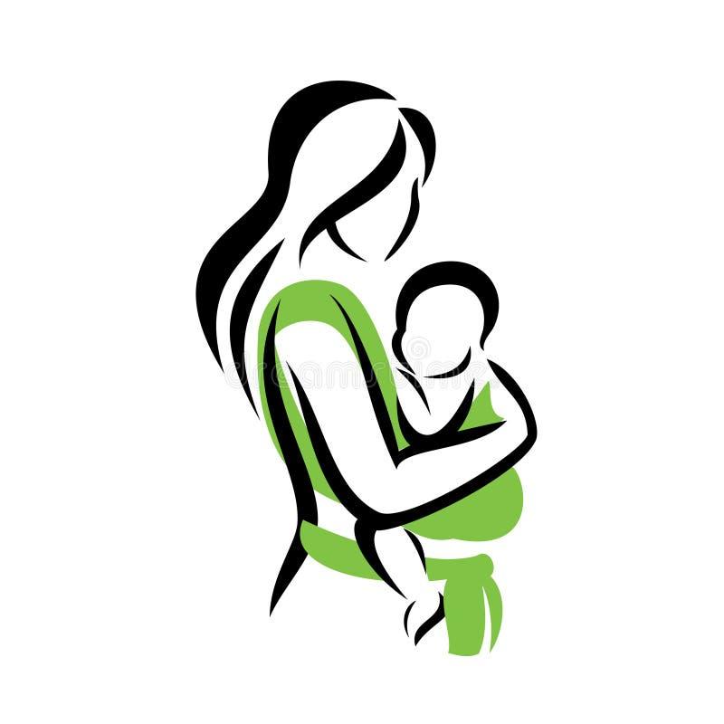 Mamã que guarda seu bebê em um estilingue ilustração stock