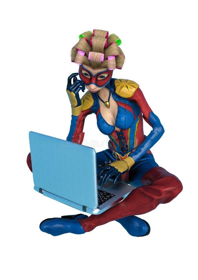 Mamã super com os desenhos animados do cabelo encaracolado que sentam-se e que datilografam em seu portátil em um fundo branco ilustração stock