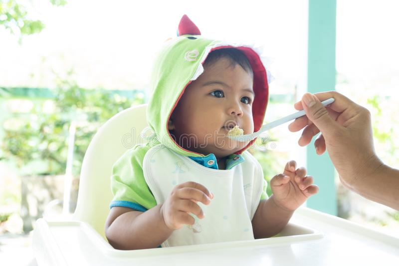 Mamãe alimenta o bebê fotografia de stock