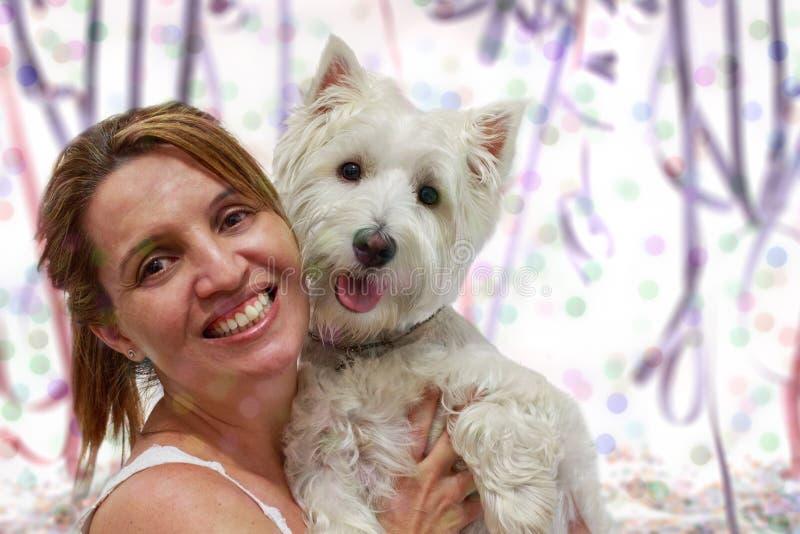 Mamãe e cão do carnaval imagens de stock