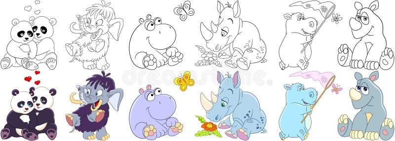 Mamíferos dos animais dos desenhos animados ajustados ilustração royalty free