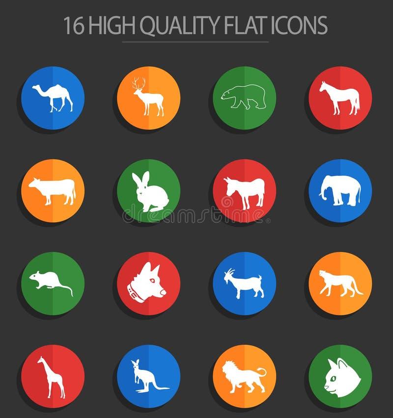 Mamíferos 16 iconos planos stock de ilustración