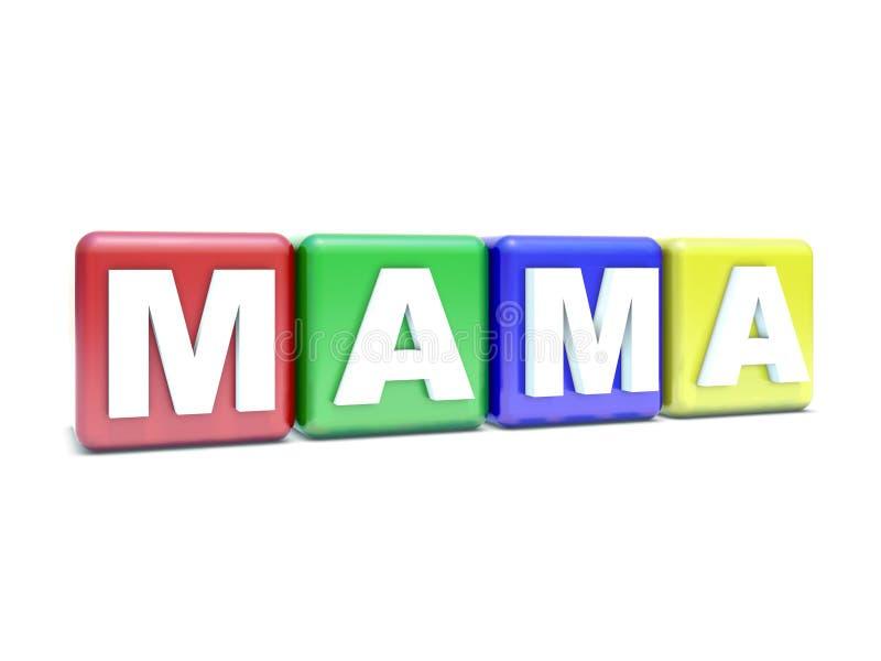 MAM3A del texto en los bloques del niño stock de ilustración