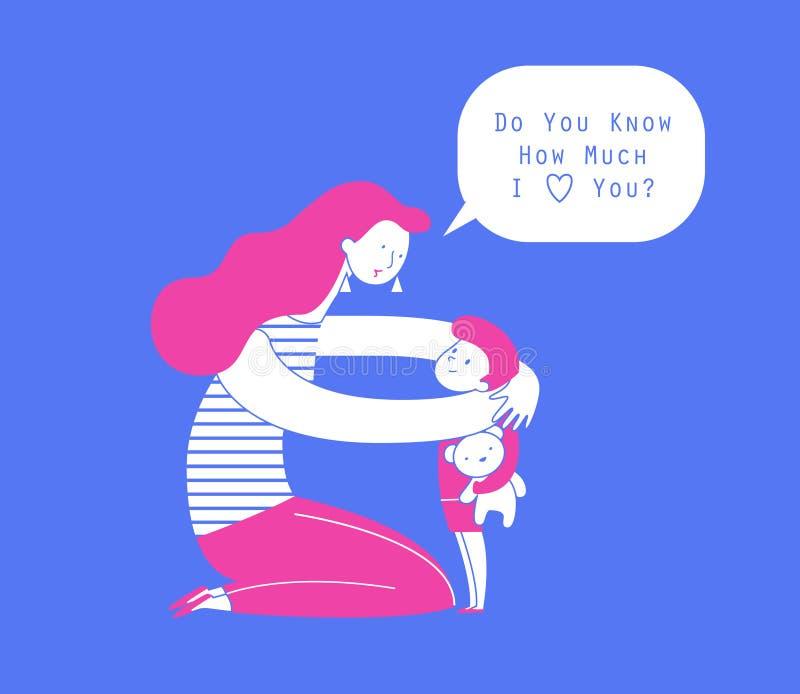 Mama ściska jej dziecko chłopiec mienia misia i opowiada on Macierzystego obejmowania mały syn i wyrażać miłość i ilustracja wektor