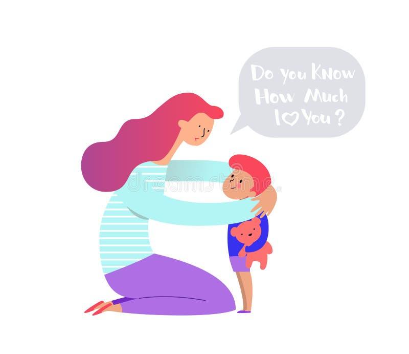 Mama ściska mienie pielęgnaci i cuddling jej misia chłopiec lub dziewczyny i on Macierzystego obejmowania nowonarodzony syn i royalty ilustracja