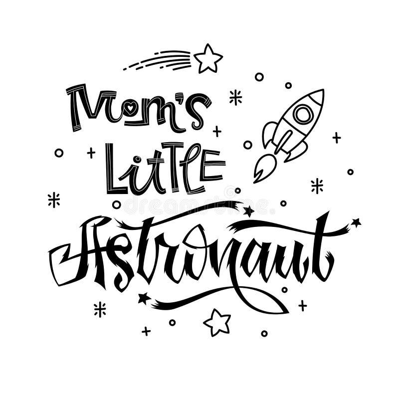 Mama astronauty Mała wycena Dziecko prysznic ręka rysująca piszący list logo zwrot royalty ilustracja