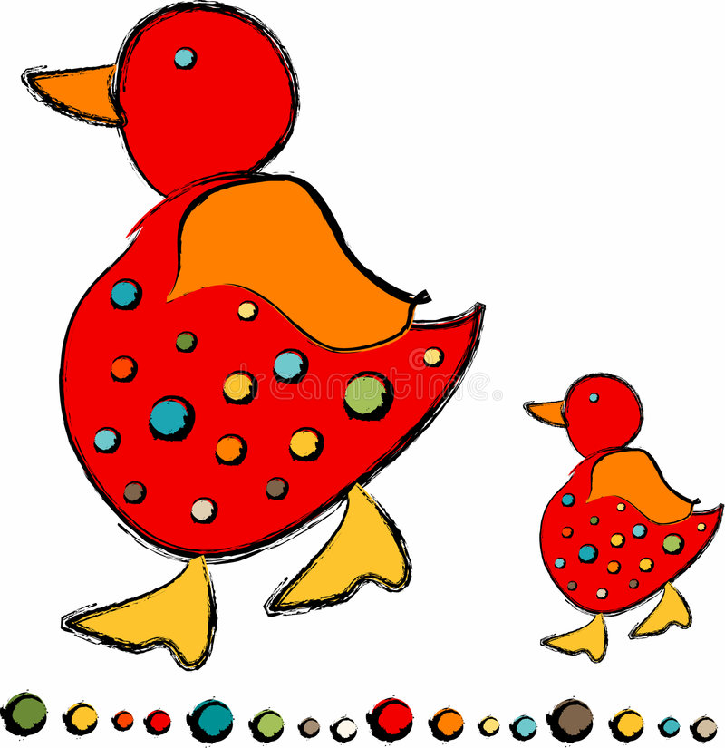 Mama and Baby Chick. Cute red mother and baby chick / chickadee with bullets royalty free illustration